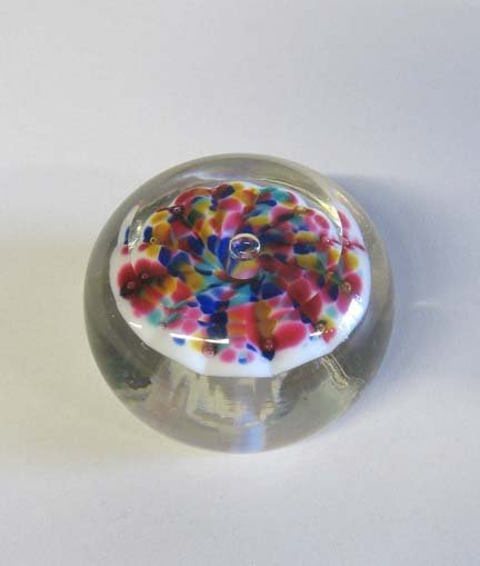 21511: Milleville glass mushroom paperweight, early 20t
