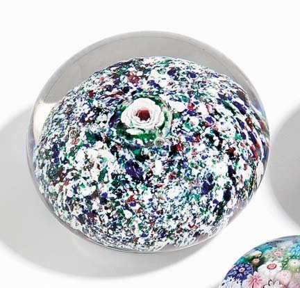 21512: Glass paperweight, sandwich with Lutz rose, 19th