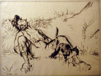 8: EDMUND BLAMPIED, (BRITISH 1886-1966), PURRING AND SN