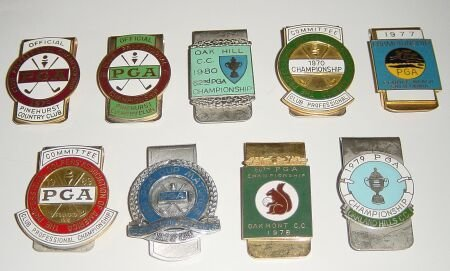 1007:  Two P. G. A.  gilt metal and enamel badges