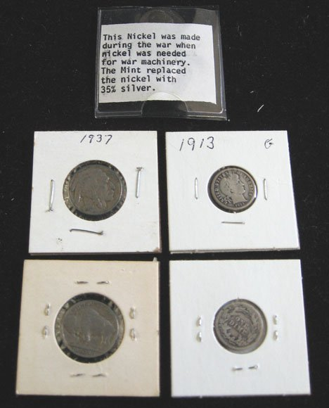 2003: Group of V Nickels including Buffalo and Mercury