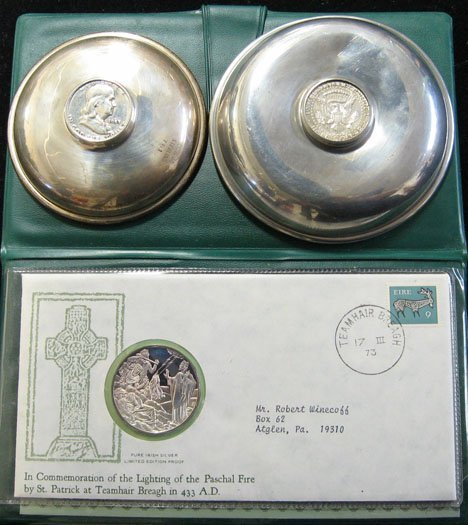 2023: Three Sterling Plates with Coin Inserts and 5 Fol