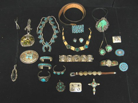2064: Twenty-Three piece Turquoise Silver and Sterling
