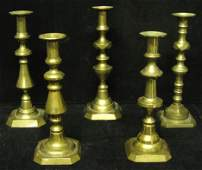 2365: Five brass candlesticks, 19th - 20th c., Four 19t