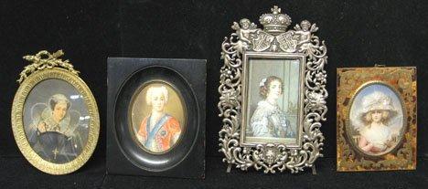 2432: Four portrait miniatures, 19th c. - 20th c., Port