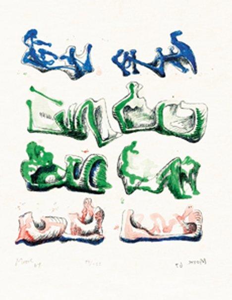 3009: HENRY MOORE, (British 1898-1986), EIGHT RECLINING