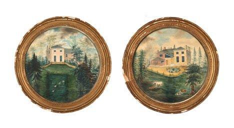 1: American School 19th century, pair of house portrait