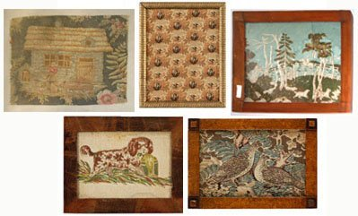 8: Four printed textile and wallpaper fragments, 19th c