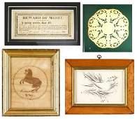 9 American School 19th century calligraphic drawings