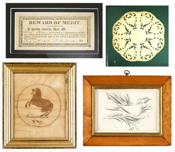 9: American School 19th century, calligraphic drawings,
