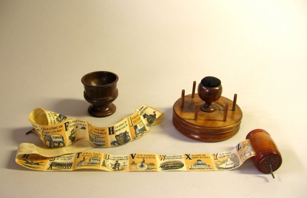 11: Three turned wooden items, 19th century, Including