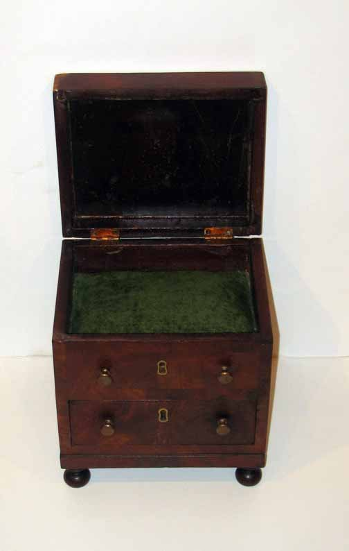 19A: Mahogany two drawer jewelry chest, 19th century, R