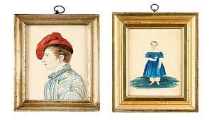 77: Anglo-American School 19th Century, two miniature p
