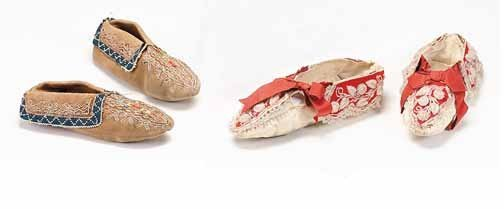 167: Two pair Northeastern Woodland moccasins, early to
