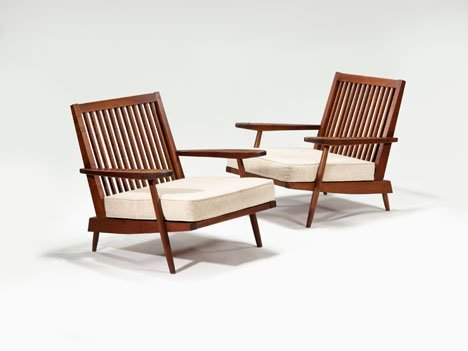 1016: Pair of George Nakashima open armchairs, American