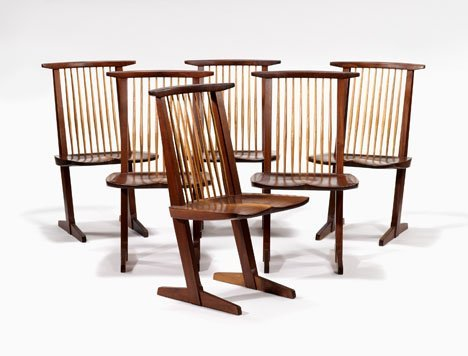 1022: Set of six conoid chairs by George Nakashima, Ame