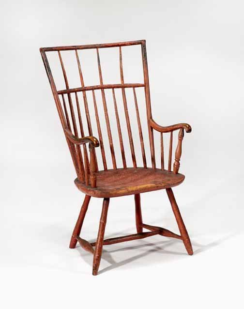 1266: Red-painted bamboo-turned Windsor armchair, penns