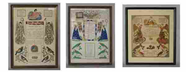 1422: Three printed and hand-colored taufschein, readin