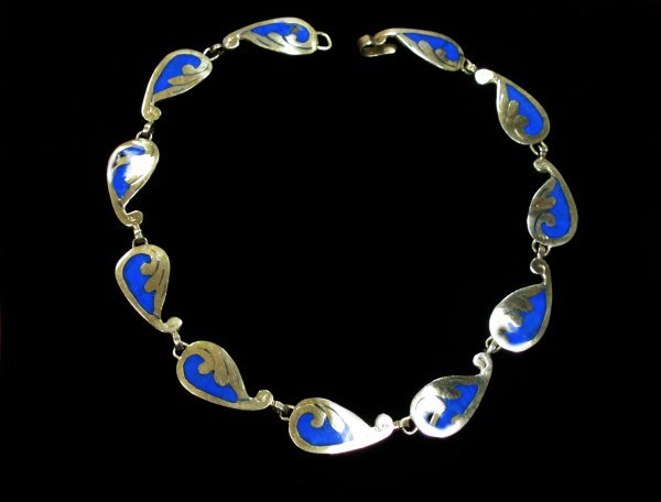 2002: Sterling and enamel necklace, , Sterling necklace