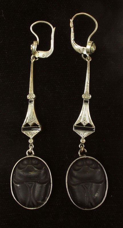 2004: Victorian sterling silver scarab earrings, , Mold