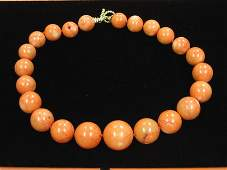 2106: Coral graduated bead necklace, 'tiffany & co. 925