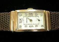 2192: Gentleman's Hamilton 14 karat yellow gold and dia