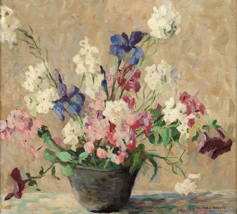 81: CORA BROOKS, (AMERICAN 1885-1930), A BOWL OF POSIES