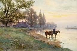 101: FRANK F. ENGLISH, (AMERICAN 1854-1922), WATERING T