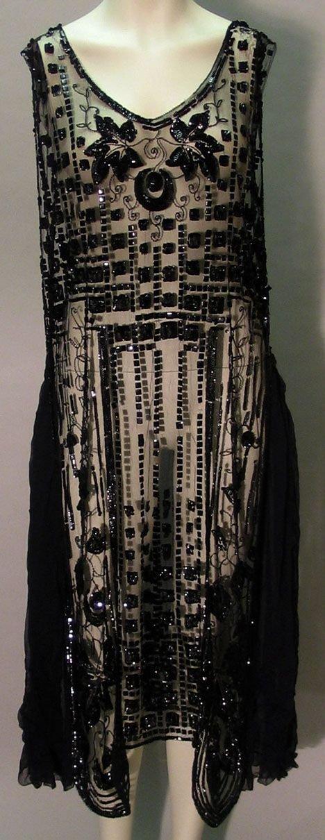 1000: Sheer black beaded Art Deco flapper dress, 1920s,