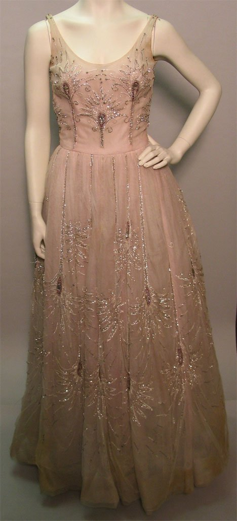 1003: Pale pink beaded tulle Curiel ball gown, 1950s, T