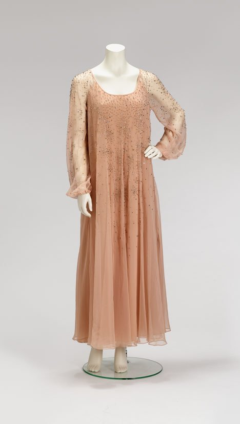 1008: Jean-Louis nude silk beaded evening gown, late 19