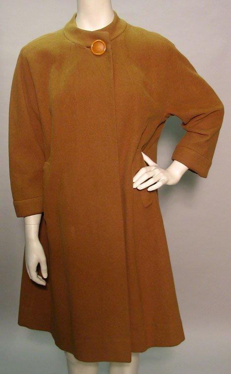 1009: Vicuna A-line coat, 1960s, Natural camel-colored