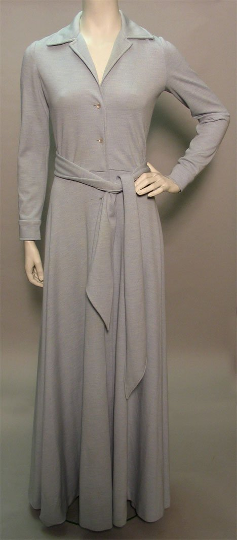 1015: Two Halston maxi dresses, 1970s, The first a sky