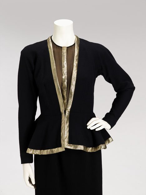 1020: Pauline Trigere black evening jacket and silk hal