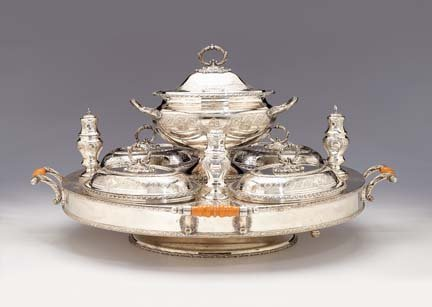 2001: Victorian silver plated revolving supper set, map
