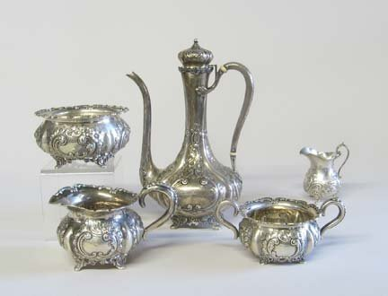 2008: American four piece coffeepot service, late 19th