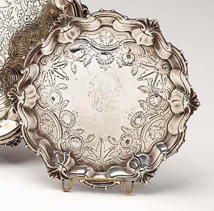2009A: George II sterling silver waiter, london 1755, M