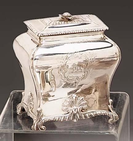 2014: George III sterling silver tea caddy, pierre gill