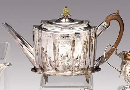 2016: George III sterling silver teapot on stand, solom