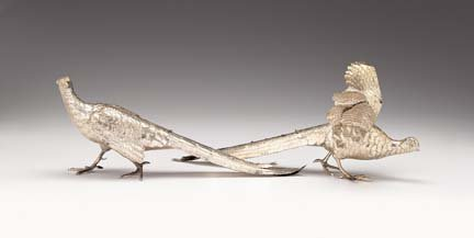 2250: Pair Continental silver table ornaments, 19th/20t