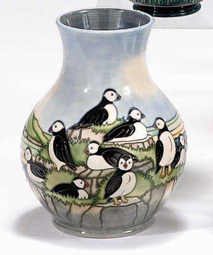 2269 Moorcroft Puffins Vase Design By Carol Lovatt