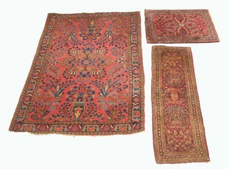 2768: Three Sarouk rugs, west persia, one: 5 ft. 2 in.