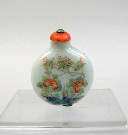 10936: Chinese ovoid glass painted snuff bottle, 20th c