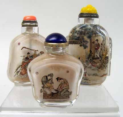 10944: Three inside painted glass snuff bottles, 20th c