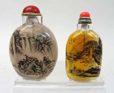 10948: Two inside painted glass snuff bottles, 20th cen