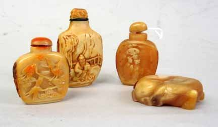10949: Four Chinese style horn snuff bottles, 20th cent