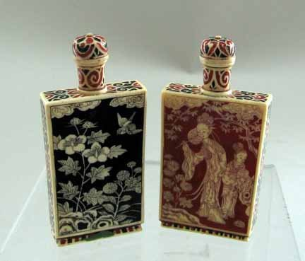 10950: Pair of Chinese ivory and lacquer snuff bottles,