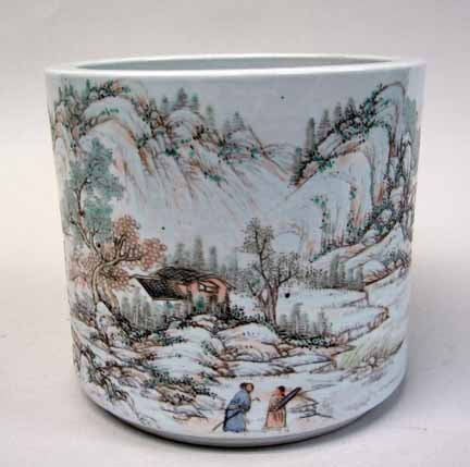 11015: Chinese enameled porcelain brushpot, 20th centur