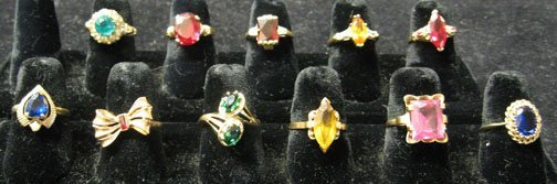 13: Eleven piece Lady's Gold Rings, , All set with asso