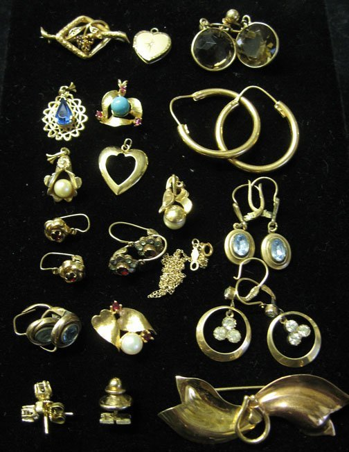 14: Group of Gold Pins and Pendants and Earrings, , Inc